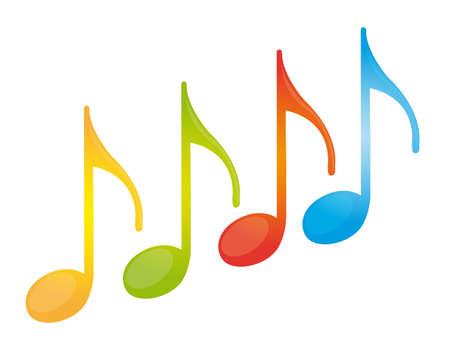 흰색 배경 위에 절연 다채로운 음악 참고. 벡터
