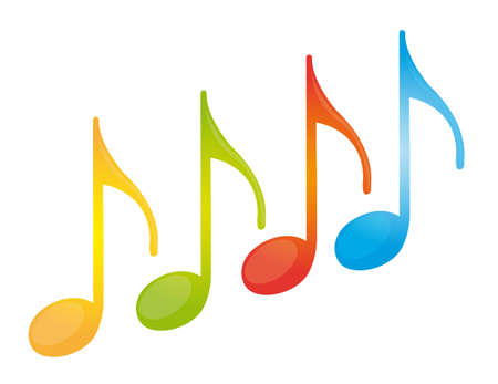 yellow note: colorful music note isolated over white background. vector