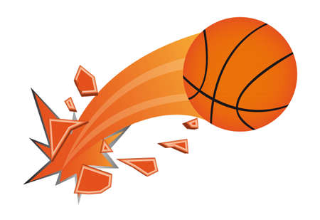 fast ball: orange basketball ball broken isolated vector illustration