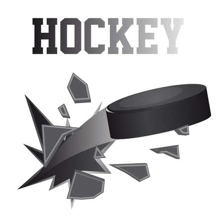 hockey goal: black hockey puck brokes isolated vector illustration Illustration