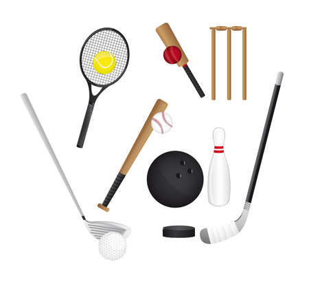 sports elements isolated over white background. vector Vector
