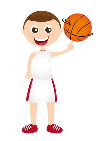 boy playing basketball isolated over white background. vector Vector
