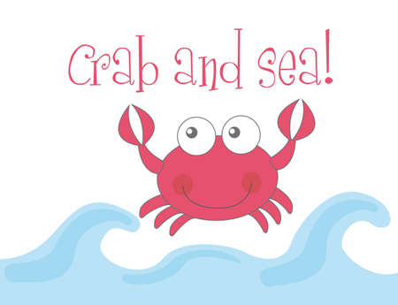 bottom of the sea: cute crab and sea over white background. vector illustration Illustration