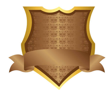 brown shield ornament isolated over white background. vector Vector