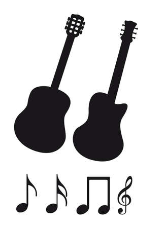 fretboard: black guitar silhouette and music notes vector illustration