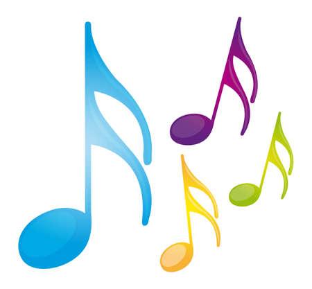 iconos de música: notas llenas de color m�sica aislado sobre fondo blanco. vector