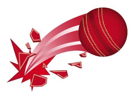 cricket: palla da cricket rosso rotto illustrazione isolato vettoriale