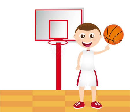 quickness: boy playing basketball  over basketball court vector illustration Illustration