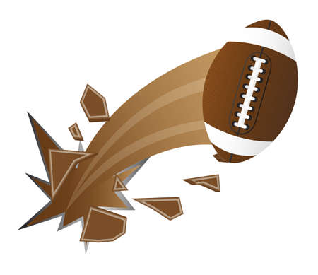 football tackle: brown american football broken isolated vector illustration
