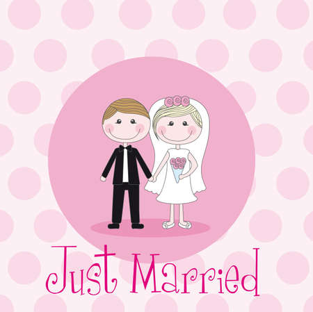 marriage cartoon: cute husbands over pink circles vector illustration Illustration