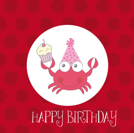 cute crab with cup cake vector illustration. happy birthday Vector