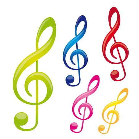 clef de fa: notes color�es de musique isol� sur fond blanc. vecteur