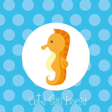 orange cute sea horse over blue circles vector illustration Vector