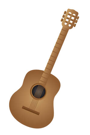 fretboard: brown classical acoustic guitar isolated vector illustration  Illustration
