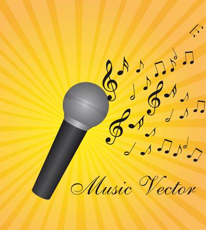 microphone with music notes over yellow background vector illustration Vector