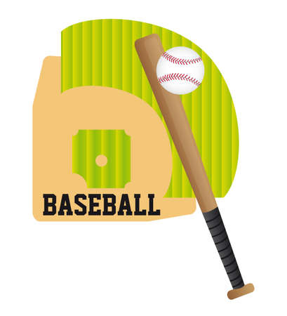baseball bat and ball over stadium vector illustration Vector