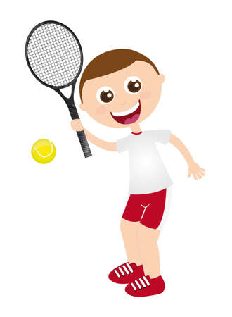 boy playing tennis with racket  isolated vector illustration Stock Vector - 11890306