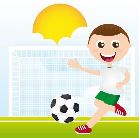 futbol soccer dibujos: chico jugando al fútbol sobre la hierba ilustración vectorial