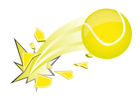 court symbol: yellow tennis ball broken isolated over white background. vector