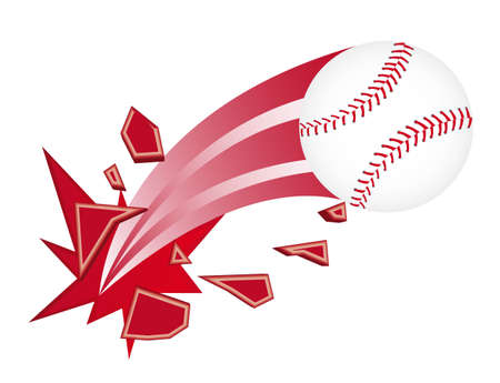 softball: baseball ball broken isolated over white background. vector Illustration