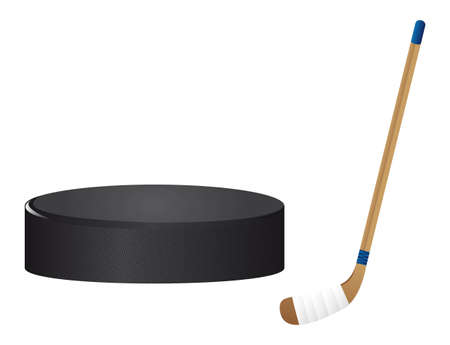 hockey stick: hockey stick and hockey puck isolated vector illutration