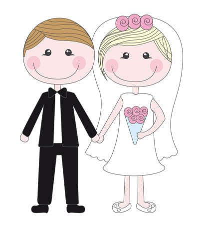 cute husbands isolated vector illustration. just married Çizim