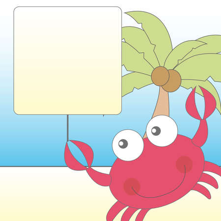at the bottom of: cute crab over cute landscape vector illustration