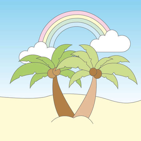 cute landscape with palms and rainbow vector illustration Vector