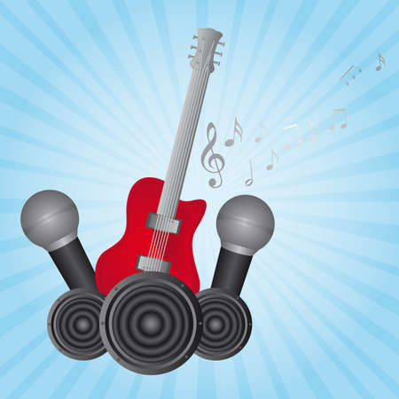 guitar and microphone over blue background. vector Vector