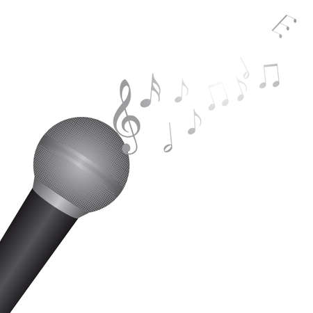 amplify: microphone with music notes over white background. vector