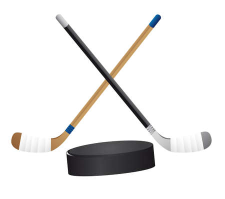 hockey stick: hockey stick and hockey puck isolated vector illustration