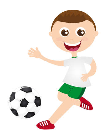 boy playing soccer isolated over white background. vector Vector