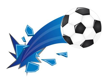 soccer stadium: soccer ball broken isolated over white background. vector Illustration