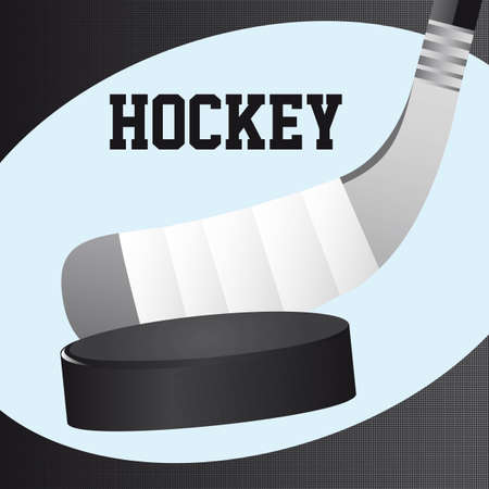 wooden stick: hockey stick and hockey puck close up vector illustration