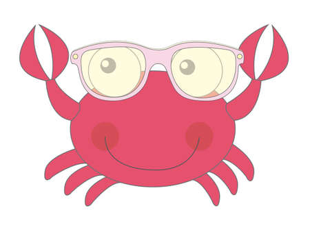 red cute crab with sunglasses isolated vector illustration