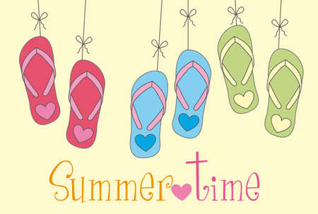 footware: flip flops with summer time text over yellow background. vector