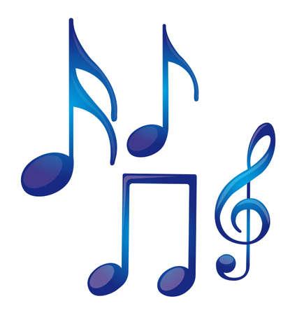 musical note: notas musicales aisladas azul sobre fondo blanco. vector Vectores