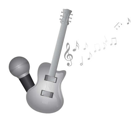 music notes vector: silver guitar and microphone with music notes vector