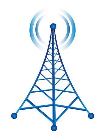 антенны: Blue Tower с радио, изолированных на белом фоне. вектор Иллюстрация