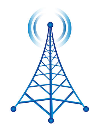 blue tower with radio isolated over white background. vector