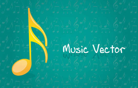 quavers: yellow music note over blue background. vector illustration Illustration