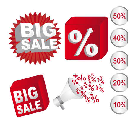 sale icons: red and white big sale icons and discounts vector