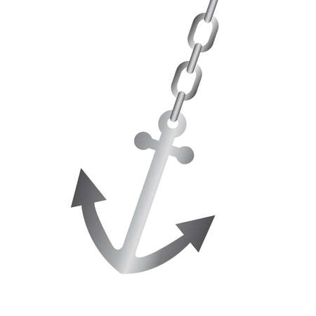 silver anchor with chain isolated over white background. vector Vector