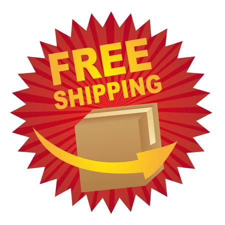 shipping boxes: red free shipping tag with box and arrow vector illustration