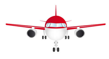 passenger plane: red and white front plane isolated over white background vector