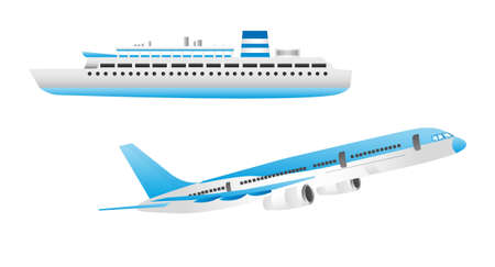 blue and white ship and aircraft isolated over white background vector Illustration