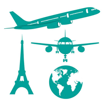 airplane icon: silhouette plane, earth and eiffel tower isolated vector