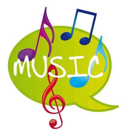colorful music notes over thought bubble vector illustration Vector
