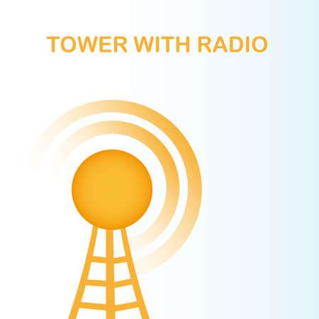 антенны: оранжевый башня с радио на синем фоне. векторные иллюстрации Иллюстрация