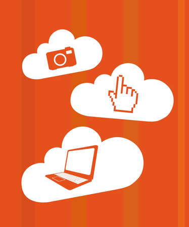 orange technology icons over clouds vector illustration Vector